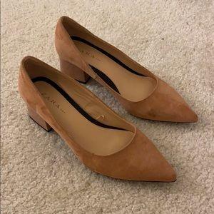 Zara suede pink pointed heel